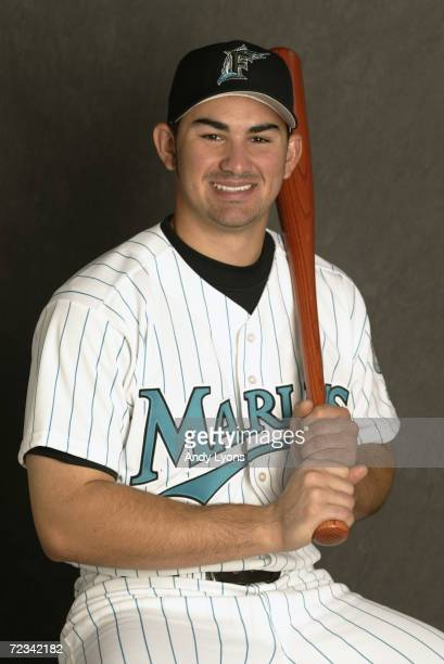 Adrian Gonzalez of the Florida Marlins is pictured during the Marlins media day at at their spring training facility in Viera Florida DIGITAL