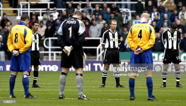 Alan Shearer of Newcastle leads the minutes silence in commemoration of the late Princess Margaret before the FA Barclaycard Premiership match...
