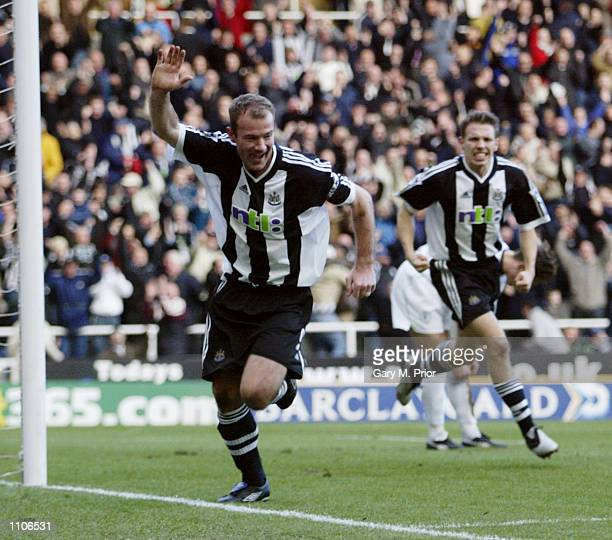 Alan Shearer of Newcastle United celebrates scoring a goal during the FA Barclaycard Premiership match between Newcastle United and Bolton Wanderers...