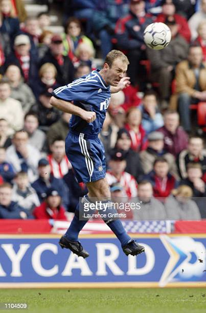 Alan Shearer of Newcastle United heads the ball on during the FA Barclaycard Premiership match between Sunderland and Newcastle United played at the...