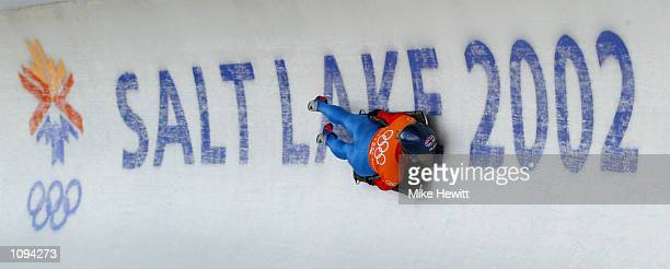 Alex Coomber of Great Britain practices in the women's skeleton during the Salt Lake City Winter Olympic Games at the Utah Olympic Park in Park City,...