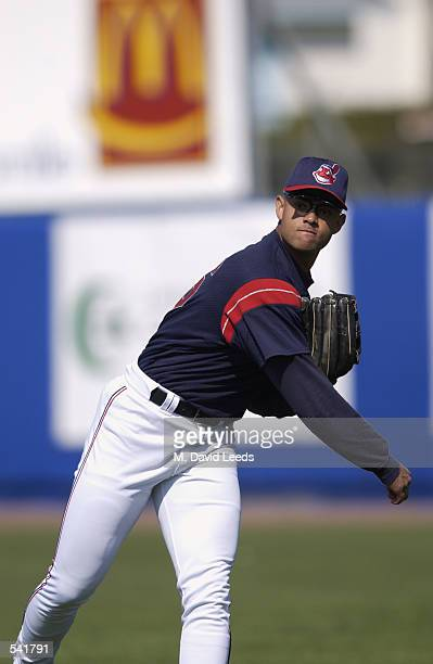 Alex Escobar of the Cleveland Indians fields the ball during the spring training game against the Minnesota Twins at Chain of Lakes Park in Winter...