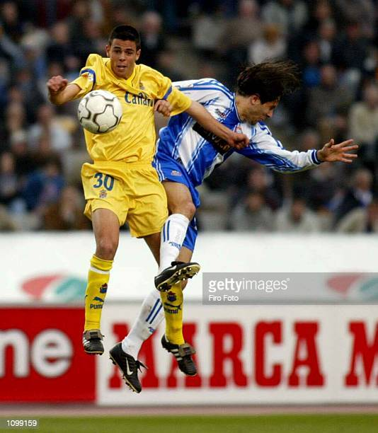 Alex Fernandez of Espanyol and Carmelo of Las Palmas in action during the Primera Liga match between Espanyol and Las Palmas played at the Montjuic...