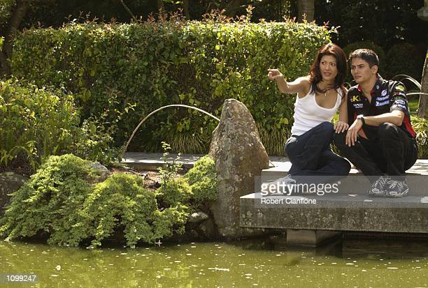 Alex Yoong of the Minardi Formula One Team takes time out with his girlfriend Arianne Teoh at the Melbourne Zoo, prior to the start of the 2002 FIA...