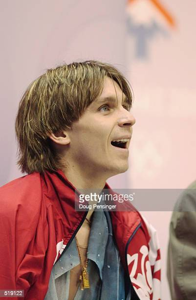 Alexander Abt of Russia after the men's free program during the Salt Lake City Winter Olympic Games at the Salt Lake Ice Center in Salt Lake City...