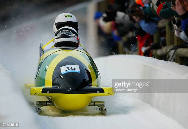 Alexander Winston Watt and Oneil Lascelles Brown of Jamaica cross the finish line after their 2nd run in the men's 2man bobsled during the Salt Lake...