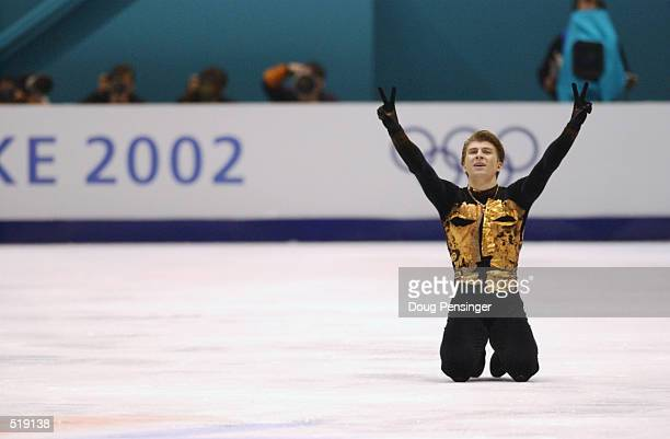 Alexei Yagudin of Russia celebrates after the men's free program during the Salt Lake City Winter Olympic Games at the Salt Lake Ice Center in Salt...