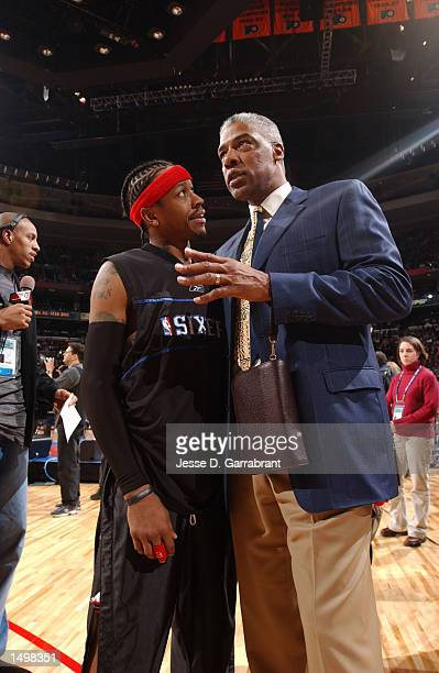 Allen Iverson and Julius Dr J Erving chat before the start of the 2002 AllStar game at the First Union Center Philadelphia Pennsylvania DIGITAL IMAGE...