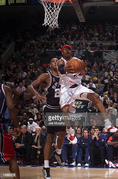 Allen Iverson of the Philadelphia 76ers drives to the basket during the 2002 NBA AllStar game at the First Union Center during the 2002 NBA AllStar...
