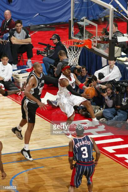 Allen Iverson of the Philadelphia 76ers during the 2002 NBA AllStar game at the First Union Center during the 2002 NBA AllStar Weekend in...