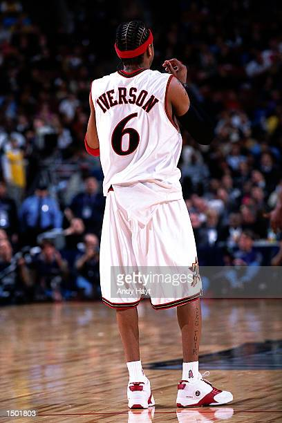 Allen Iverson of the Philadelphia 76''ers during the 2002 NBA All Star Game at the First Union Center in Philadelphia Pennsylvania NOTE TO USER User...