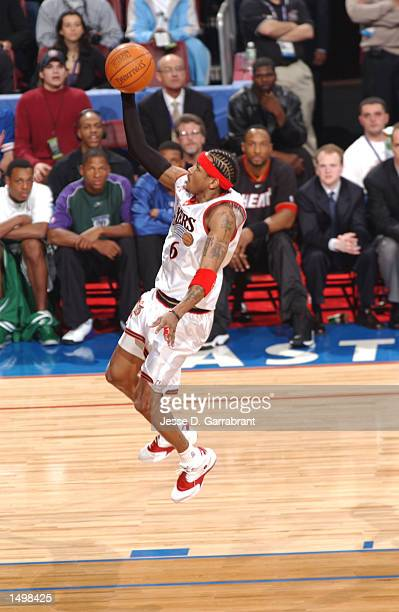 Allen Iverson of the Philadelphia 76ers goes up for the layup in the 2002 AllStar game at the First Union Center Philadelphia Pennsylvania DIGITAL...
