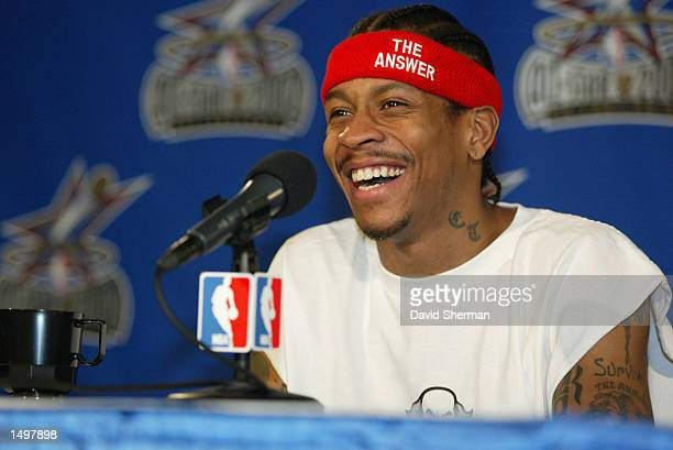 Allen Iverson of the Philadelphia 76ers shares a laugh with the media during NBA AllStar 2002 weekend in Philadelphia Pennsylvania DIGITAL IMAGE...