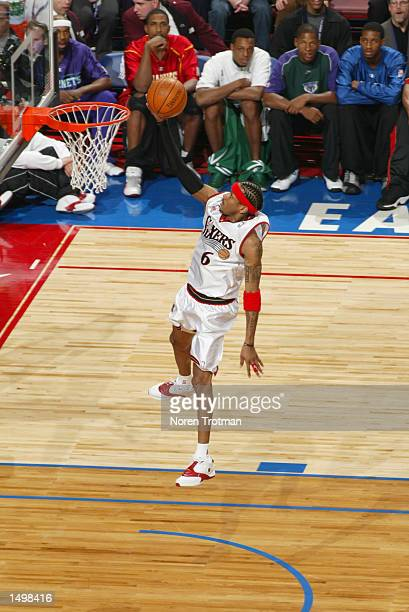 Allen Iverson of the Philadelphia 76ers takes a layup during the 2002 NBA AllStar game at the First Union Center during the 2002 NBA AllStar Weekend...