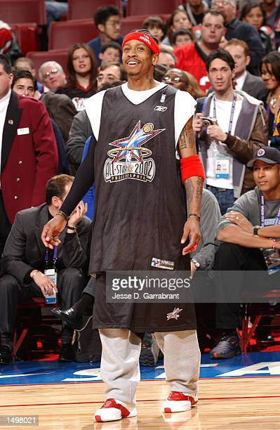 Allen Iverson of the Philadelphia 76ers will wear Julius Erving's retired for the Eastern Conference AllStars during AllStar weekend 2002 at the...