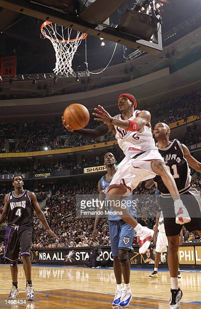 Allen Iverson of the Philadelphia 76ers with the reverse layup during the 2002 AllStar game at the First Union Center Philadelphia Pennsylvania...