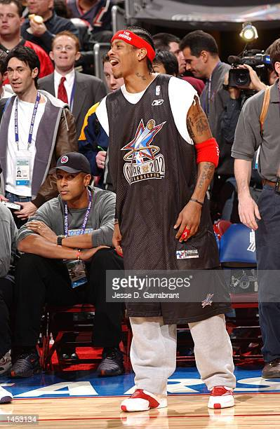 Allen 'the Answer' Iverson is all smiles during practice with the Eastern Conference AllStars during AllStar weekend 2002 at the First Union Center...