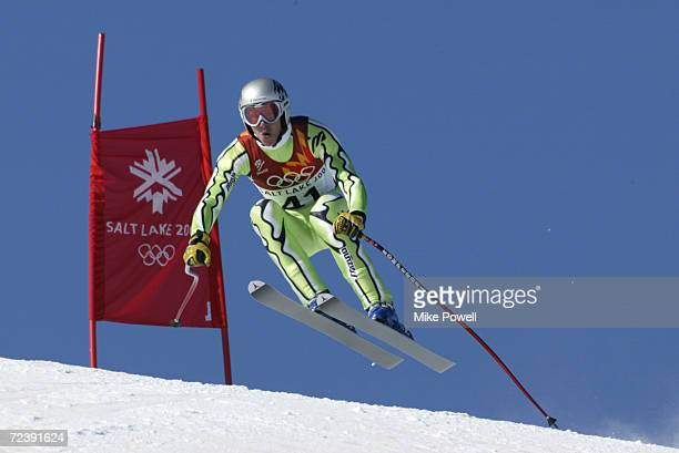 Andrej Jerman of Slovenia competes in the Men's Downhill during the Salt Lake City Winter Olympic Games at the Snowbasin Ski Area in Ogden Utah...