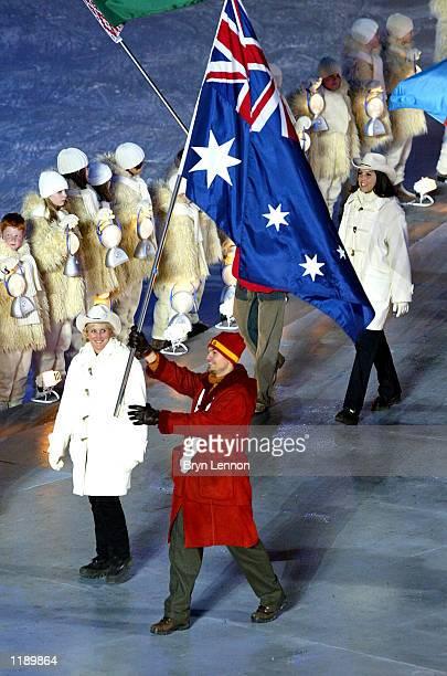 Australian Speed Skater and Gold medal winner Steven Bradbury with the Australian Flag during the Closing Ceremony of the Salt Lake City Winter...