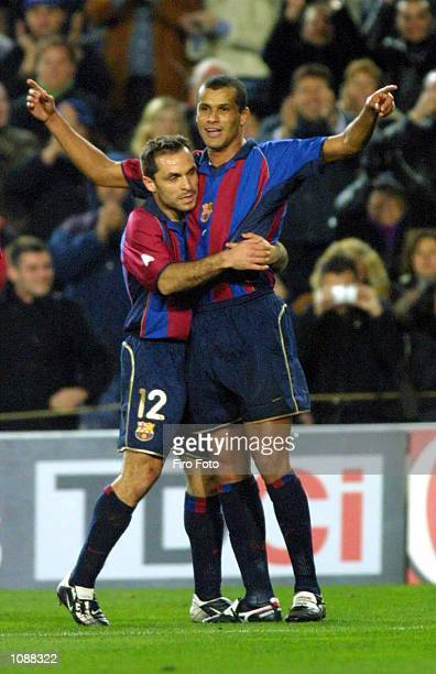 Barjuan Sergi and Rivaldo of Barcelona celebrate during the Primera Liga match between Barcelona and Real Sociedad played at the Camp Nou Barcelona...