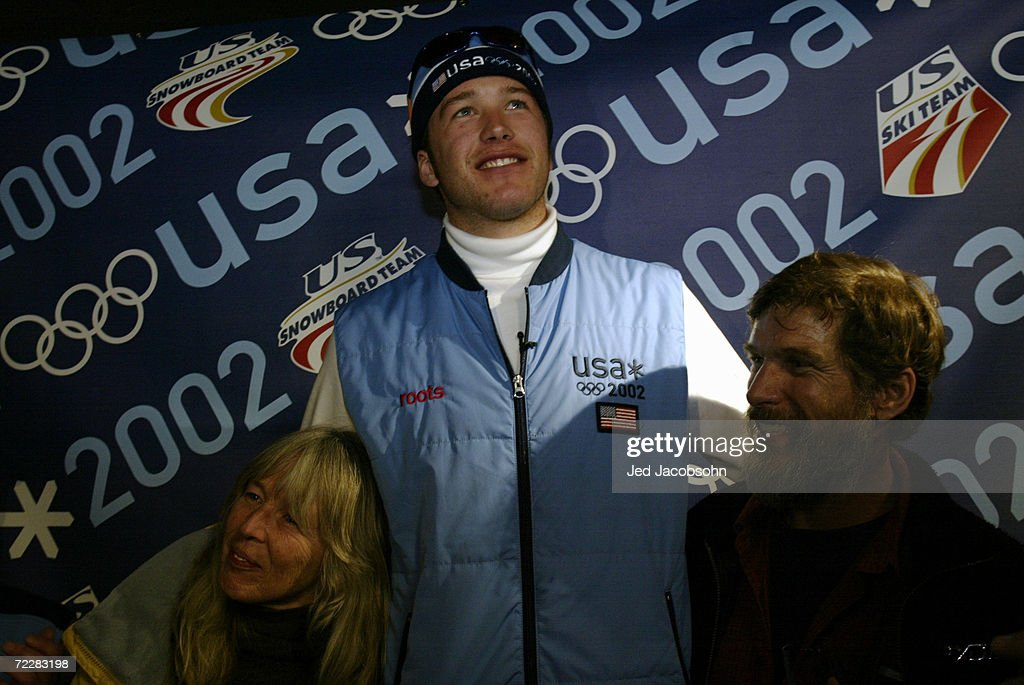 Bode Miller celebrates his silver medal finish in the giant slalom with his parents, Jo and Woody, at Little America during the 2002 Salt Lake Winter Olympics in Salt Lake City, Utah. DIGITAL IMAGE Mandatory Credit: Jed Jacobsohn/Getty Images