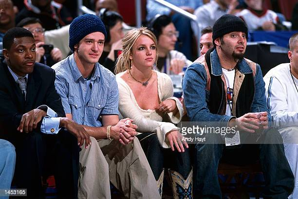 Britney Spears and Justin Timberlake watch the 2002 NBA All Star Game at the First Union Center in Philadelphia PA NOTE TO USER User expressly...