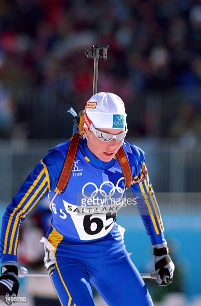 Bronze medal winner Magdalena Forsberg of Sweden competes in the women's 15km biathlon during the Salt Lake City Winter Olympic Games at Soldier's...