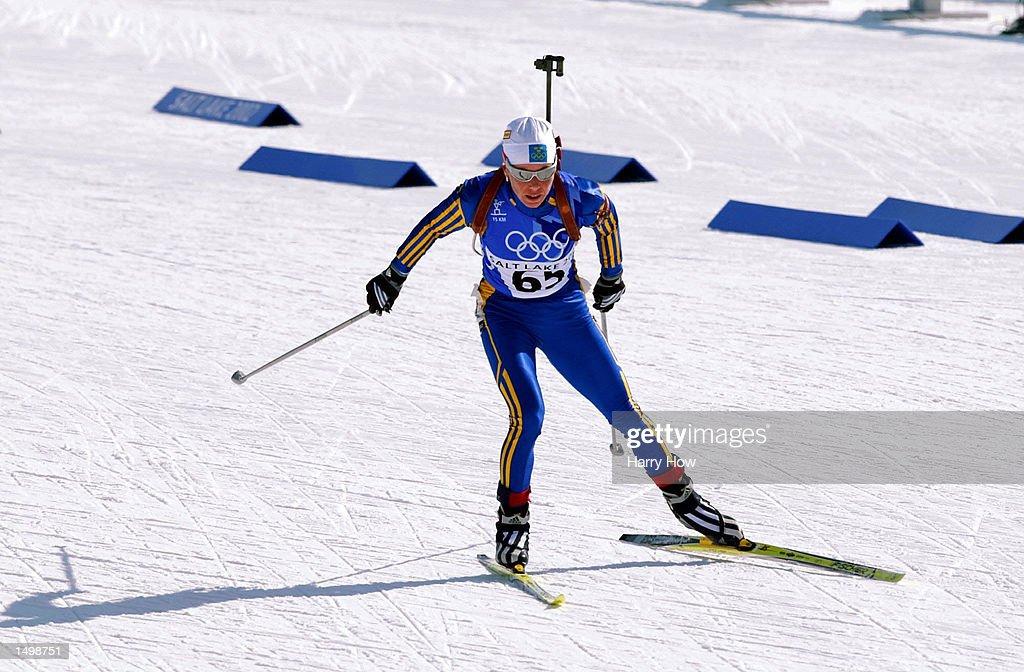 Bronze medal winner Magdalena Forsberg of Sweden competes ...