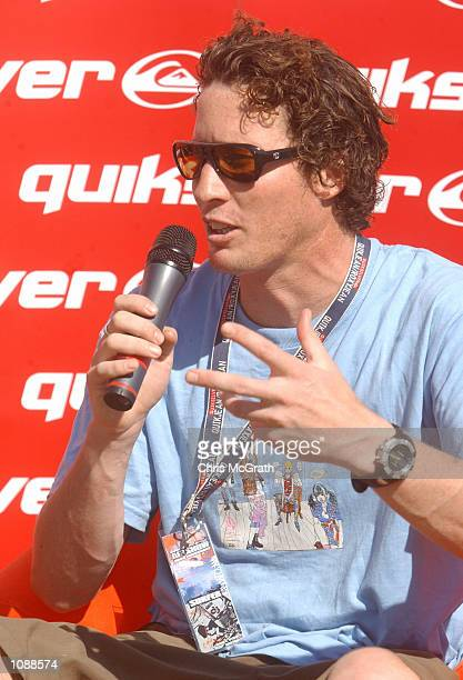 Bruce Irons of Hawaii speaks to the media during a press conference ahead of tomorrow's Quiksilver Airshow competition to be held at Manly Beach...