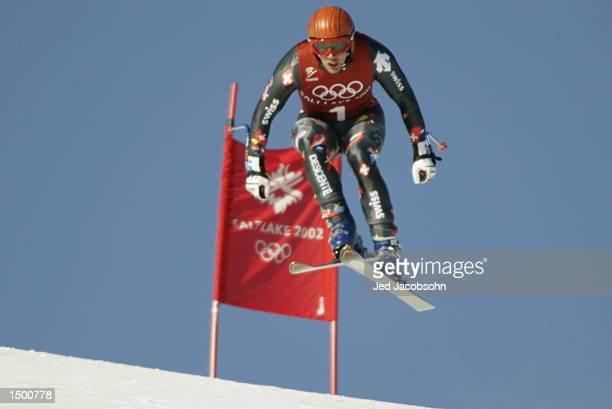Bruno Kernen of Switzerland practices the men's downhill at the Snowbasin ski area before the Salt Lake City Winter Olympic Games in Ogden Utah...