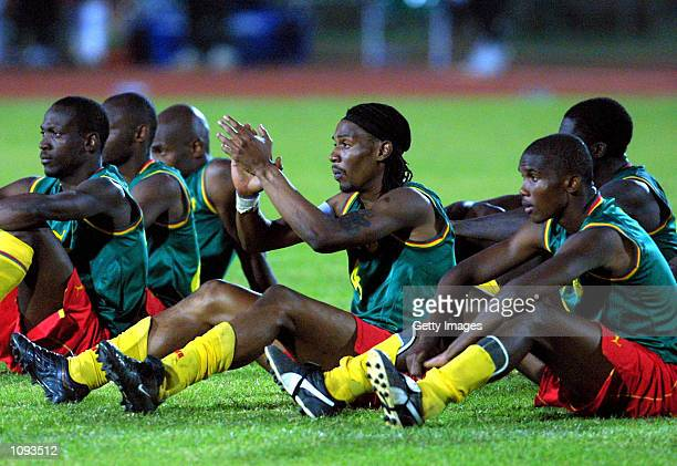 Cameroon players watch the penalty shoot out during the African Cup of Nations Final between Cameroon and senegal played at the 26 March Stadium...