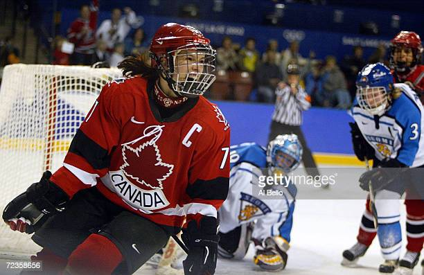 Cassie Campbell of Canada celebrates shooting the final goal against Finland during the Salt Lake City Winter Olympic Games at the E Center in Salt...