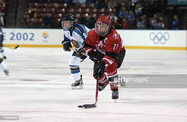 Cassie Campbell of Canada in action in the women's ice hockey preliminary round match between Canada and Kazakhstan during the Salt Lake City Winter...