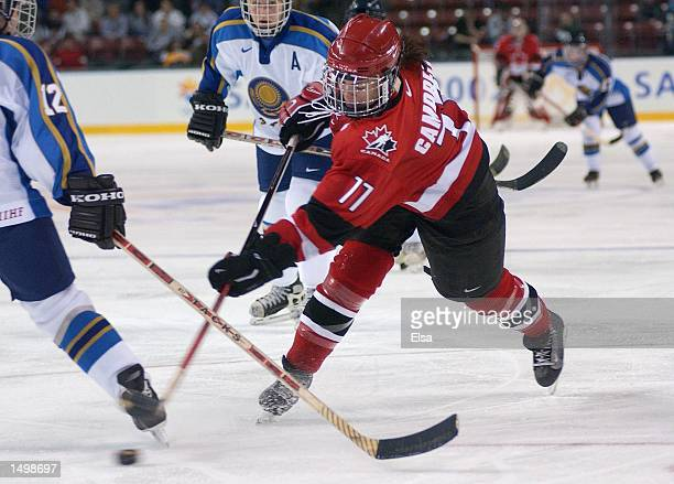 Cassie Campbell of Canada takes a shot on Kazakhstan during the first period at the E Center in West Valley City Utah during the 2002 Winter Olympic...