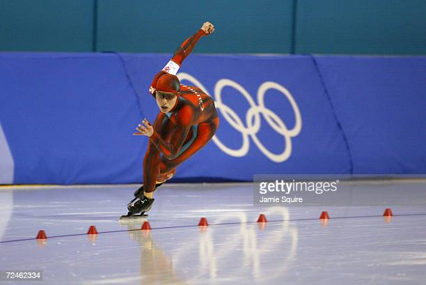 Catriona Lemay Doan of Canada competes in the women's 500m speed skating event during the Salt Lake City Winter Olympic Games at the Utah Olympic...