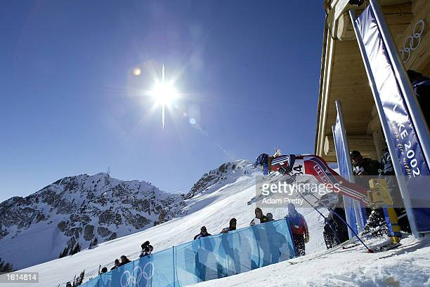 Chimene Alcott of Great Britain in the women's downhill final during the Salt Lake City Winter Olympic Games at the Snowbasin ski area in Ogden Utah...
