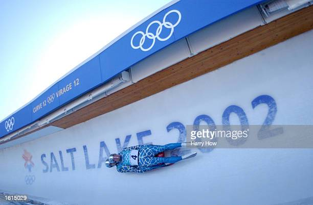 Chris Thorpe and Clay Ives of the USA race to a Bronze medal in the Men's Double Luge during the Salt Lake City Winter Olympic Games at Olympic Park...