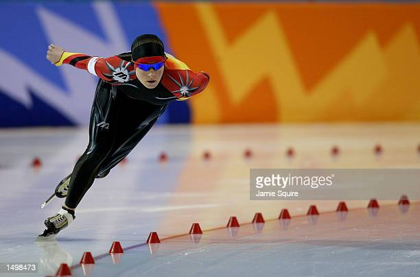 Claudia Pechstein of Germany competes in the women's 3000m speed skating event during the Salt Lake City Winter Olympic Games at the Utah Olympic...