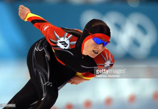 Claudia Pechstein of Germany in action on her way to winning the gold medal and a new world record time of 64691 in the women's 5000m speed skating...