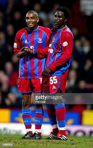 Clinton Morrison of Palace with new his new striker partner Ade Akinbiyi during the Nationwide Division One match between Crystal Palace and...