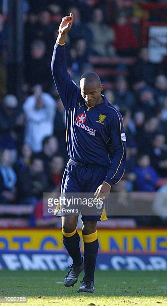 Damien Francis of Wimbledon celebrates scoring his goal during the Wimbledon v Crystal Palace Nationwide League Division One match at Selhurst Park,...