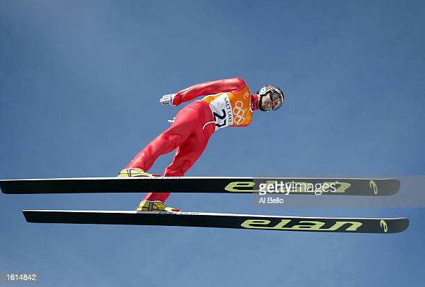 Damjan Fras of Slovenia competes in the trial for competition in the K120 ski jumping event during the Salt Lake City Winter Olympic Games at the...