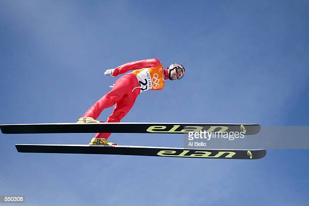 Damjan Fras of Slovenia in action in the final of the Men's K120 Ski Jumping event at the Utah Olympic Park in Park City during the Salt Lake City...