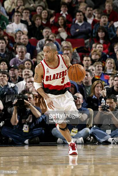 Damon Stoudamire of the Portland Trail Blazers drives the ball upcourt during the game against the Boston Celtics at The Rose Garden in Portland OR...