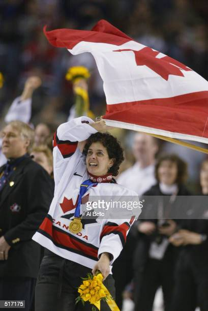 Danielle Goyette of Canada celebrates winning the womens ice hockey gold medal game 32 over the USA at the Salt Lake City Winter Olympic at the E...