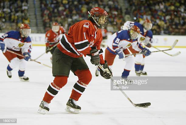 Danielle Goyette of Canada gets clear of the Russian team to score on goal in the first period of the preliminary round during the Salt Lake City...