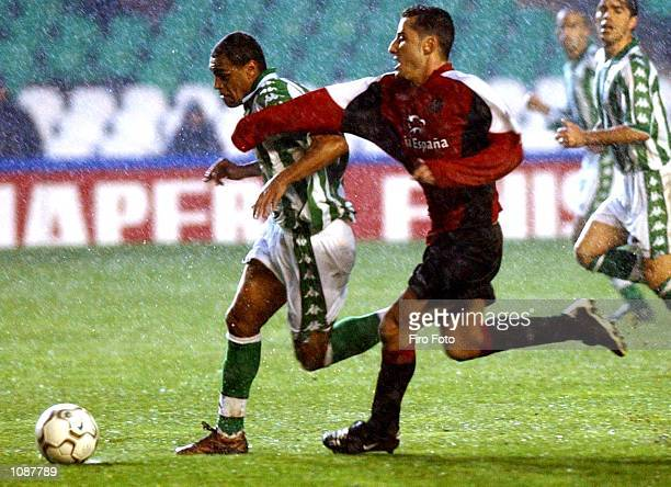 Denilson of Real Betis and Pedro Alavarez Mario of Valladolid in action during the Primera Liga match between real Betis and Valladolid played at the...