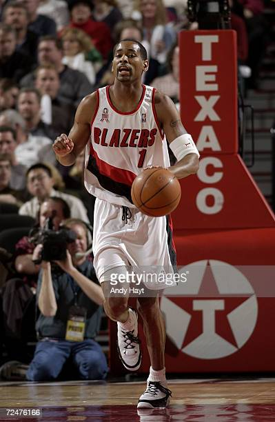 Derek Anderson of the Portland Trail Blazers brings the ball down court during their game against the Boston Celtics at the Rose Garden in Portland...