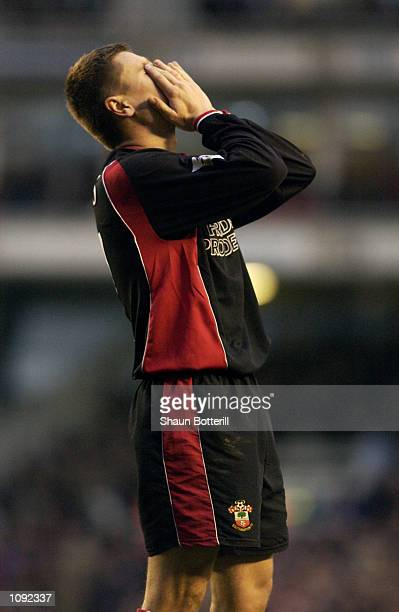 Despair for Marian Pahars of Southampton during the FA Barclaycard Premiership match against Arsenal played at Highbury in London The match ended in...