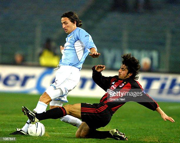 Dino Baggio of Lazio and Gennaro Gattuso of AC Milan in action during the Serie A match between Lazio and AC Milan played at the Olympic Stadium Rome...